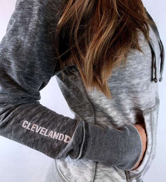 Womens Grey Two Tone Faded Hoodie