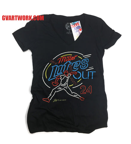 "Womens Miller ""Lites Out""  V-neck T shirt"