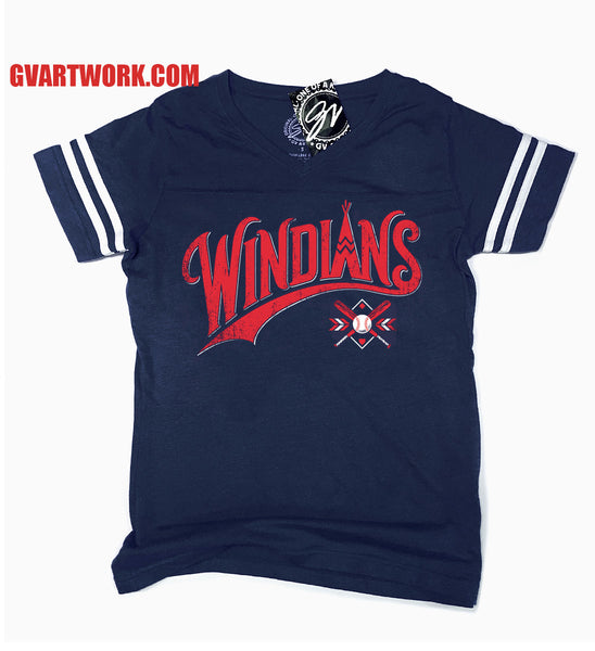 Womens Windians Baseball Striped Sleeve V neck T shirt
