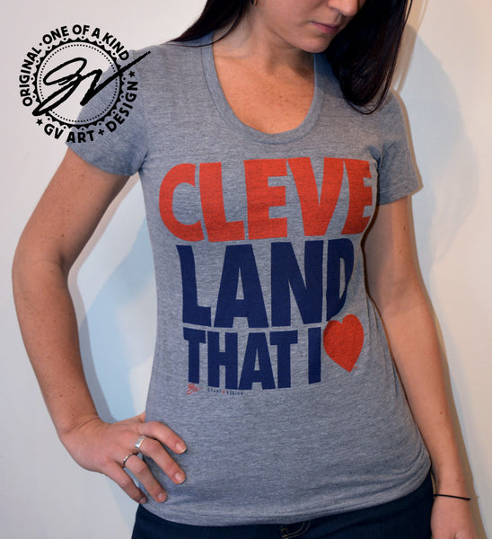 Women's Cleveland T Shirt - Land That I Love - Grey