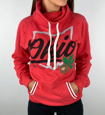 Women's Red Script Ohio Pullover Fleece