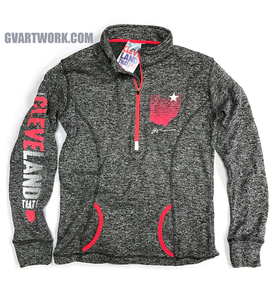 Womens Cleveland That I Love Grey Quarter Zip Pullover Fleece