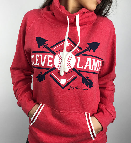 Women's Red Cleveland Baseball Pullover Fleece