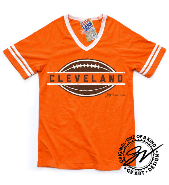 Womens Cleveland Football Orange Striped Shirt