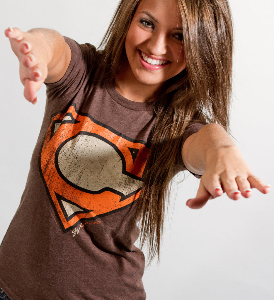 effc4051 Women's Superman Cleveland Orange and Brown Edition