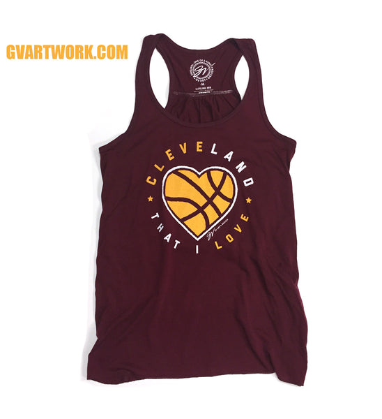 Womens Flowy Cleveland That I Love Wine Racerback Tank Top