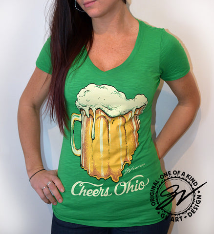 Womens Cheers Ohio V neck Shirt