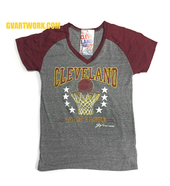 Womens Cleveland Vintage Hoop Wine Sleeves