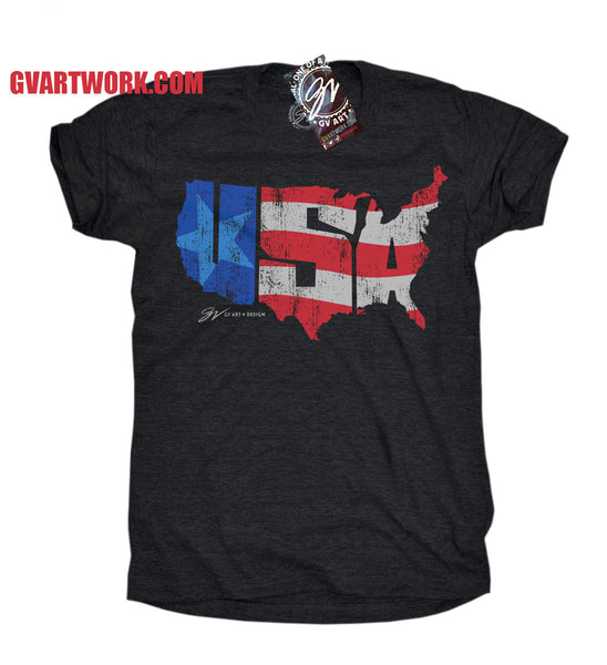Womens Triblend Black USA America Shirt