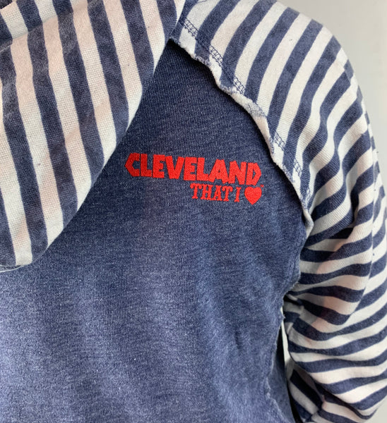 Womens Cleveland Baseball Blue Striped Hoodie