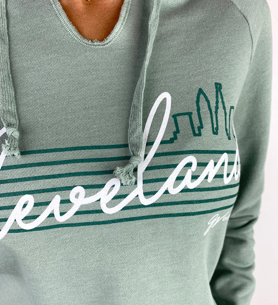 Women's Cleveland Script Mint Hooded Sweatshirt