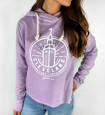 Women's Purple Terminal Tower Hooded Sweatshirt