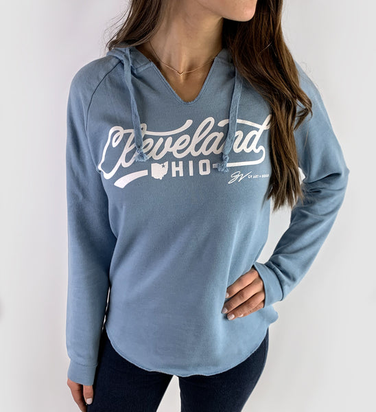 Women's Blue Cleveland Script Icons Hooded Sweatshirt
