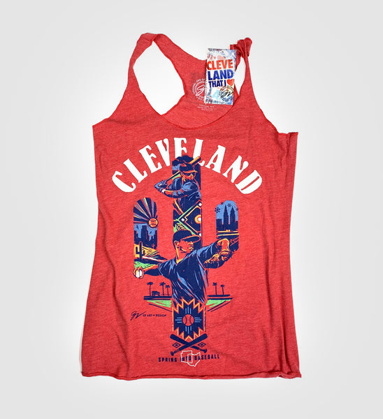 Women's Red Cleveland Spring Into Baseball Cactus Tank