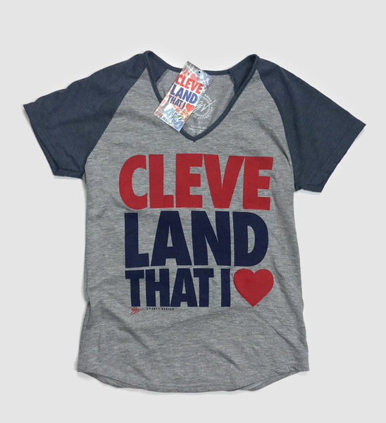 Women's Cleveland That I Love Two Tone V neck T Shirt