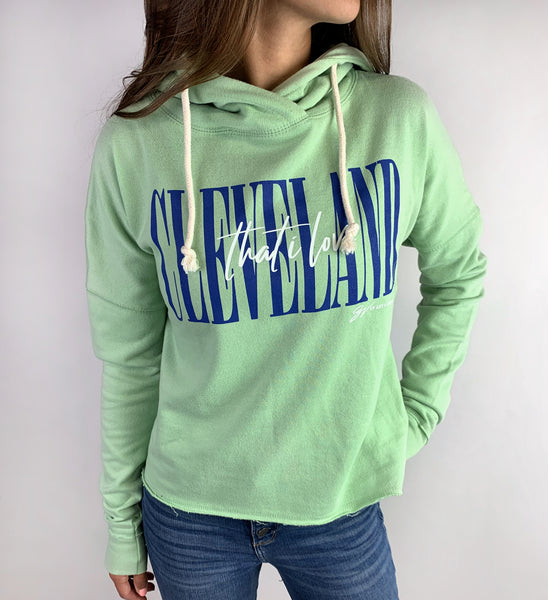 Women's Lime Green Cleveland That I Love Hooded Sweatshirt