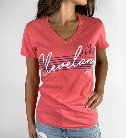 Womens Cursive Script Watermelon V Neck T shirt