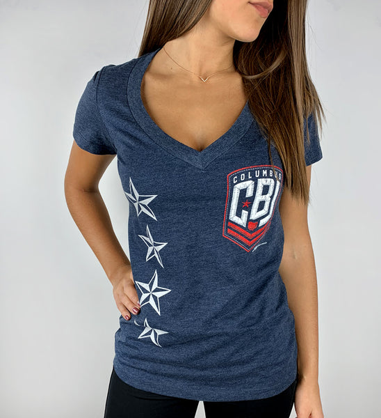 Womens CBJ Hockey Patch V Neck T shirt