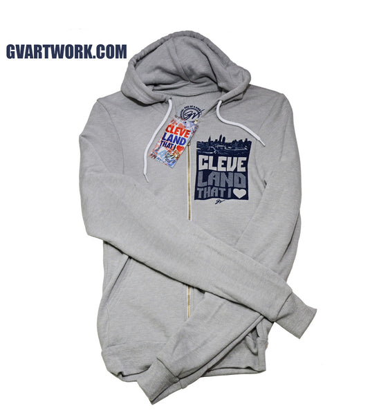 Bold Graphic Grey Cleveland Front and Back - Zip Up
