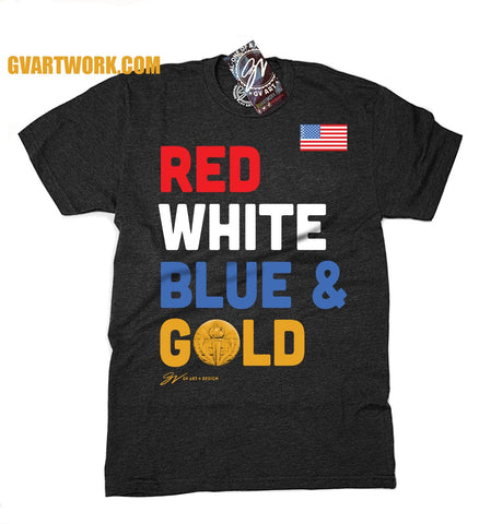 Red White Blue and Gold USA T shirt