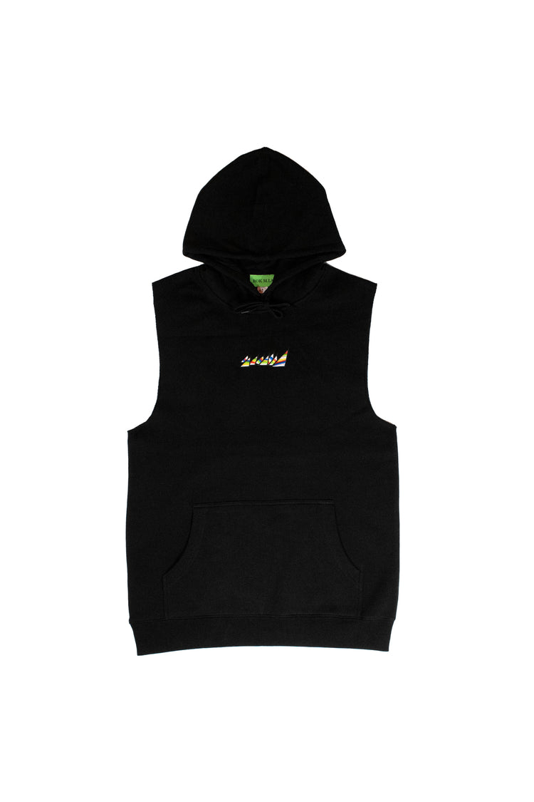 "BLACK SLEEVELESS ""GYM"" HOODIE"