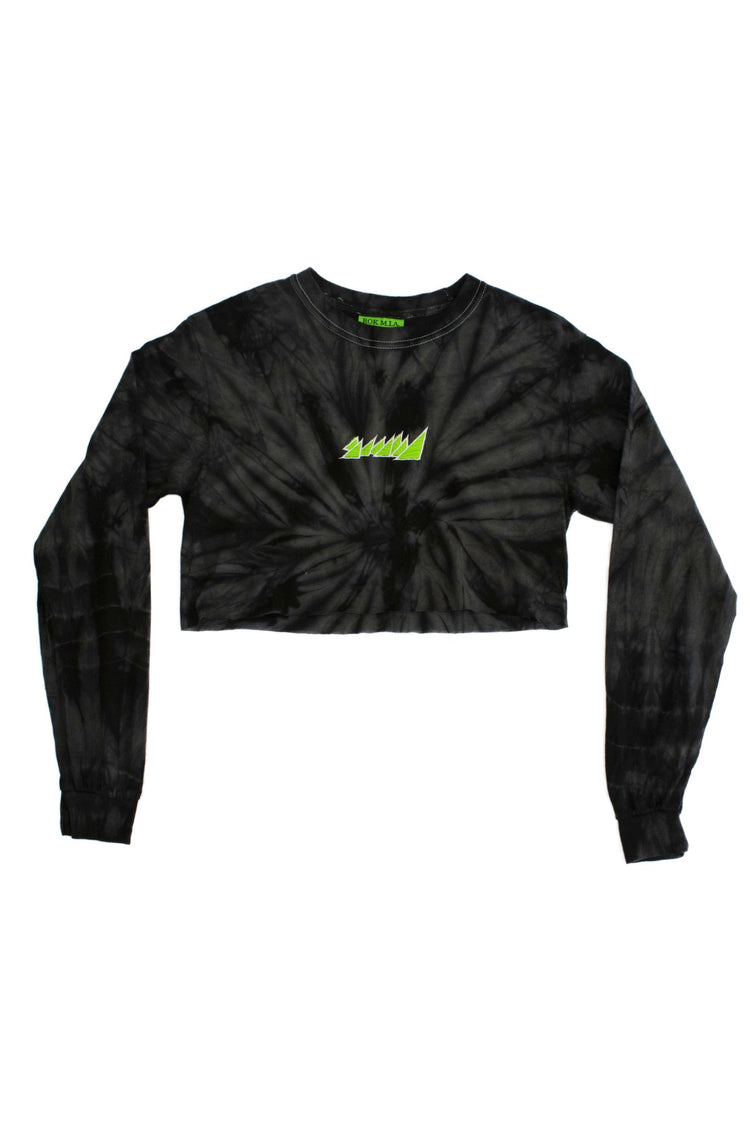 SPIDER BLACK CROP TOP L/S SHIRT