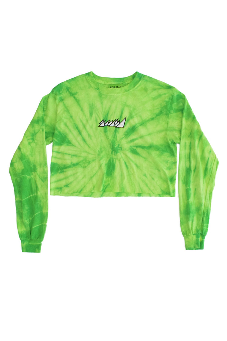 SPIDER GREEN CROP TOP L/S SHIRT