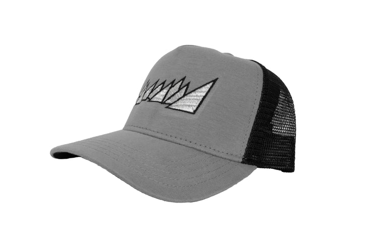 "GREY ""SILVER LOGO"" TRUCKER"