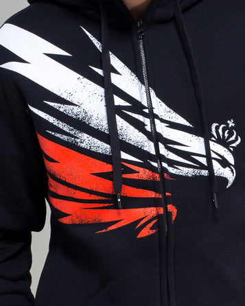 HODDIE WITH A ZIPPER LIGHTENING EAGLE