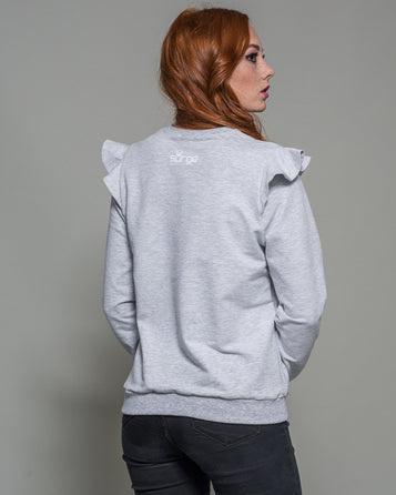 WOMEN'S SWEATSHIRT POLAND WITH A FRILL (LIGHT MELANGE)