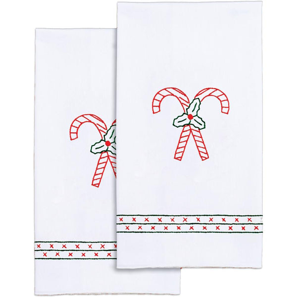 Stamped Decorative Hand Towels ~ Candy Canes