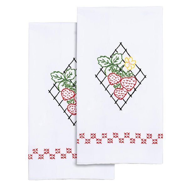 Stamped Decorative Hand Towels ~ Strawberries