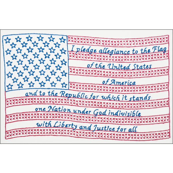 Pledge of Allegiance Stamped Cross Stitch & Embroidery Kit