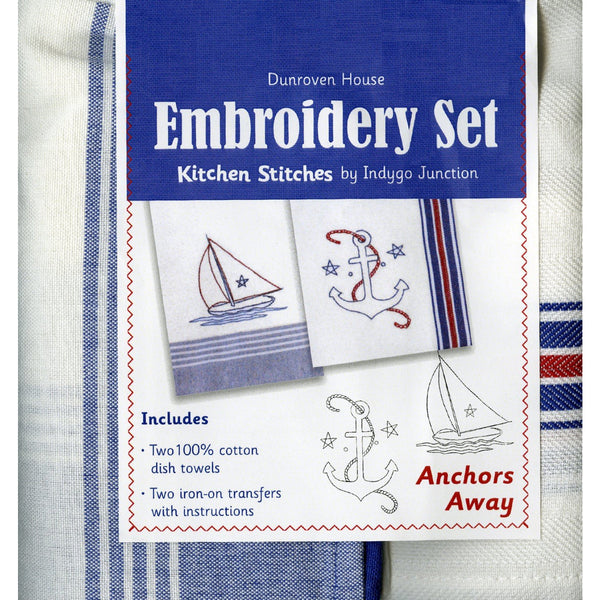 Kitchen Towels Embroidery Set ~ Anchors Away