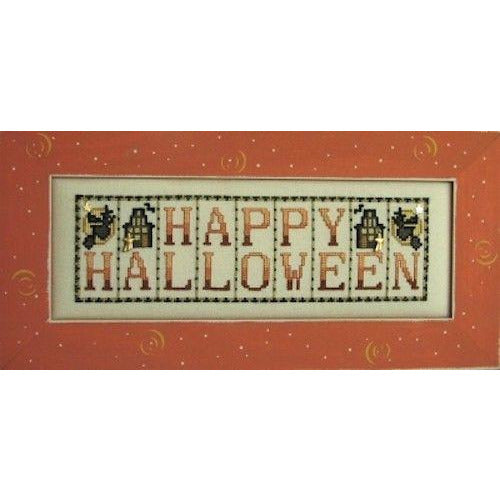 Mini Block: Happy Halloween Cross Stitch Pattern w/Charms