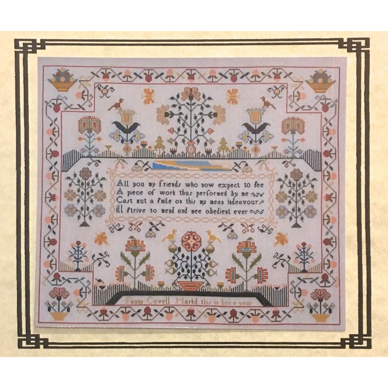 Fanny Covell 1790 Reproduction Sampler Cross Stitch Pattern