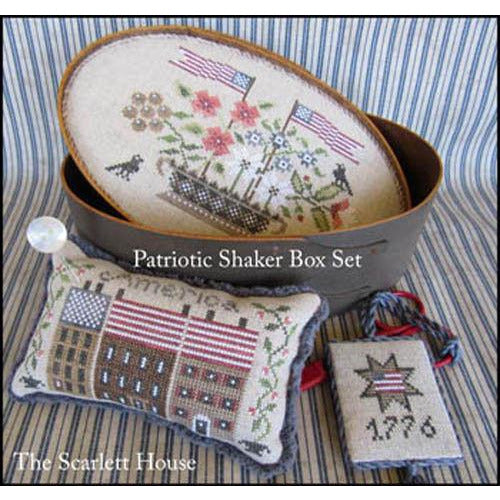 Patriotic Shaker Box Set Cross Stitch Pattern or Kit