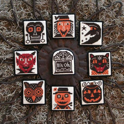 Heads Up! Halloween Ornaments Cross Stitch Pattern