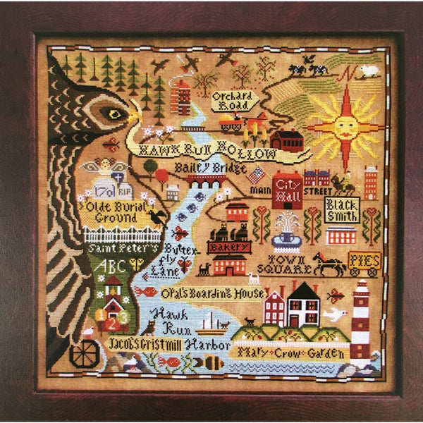 Map of Hawk Run Hollow Carriage House Samplings Cross Stitch Pattern