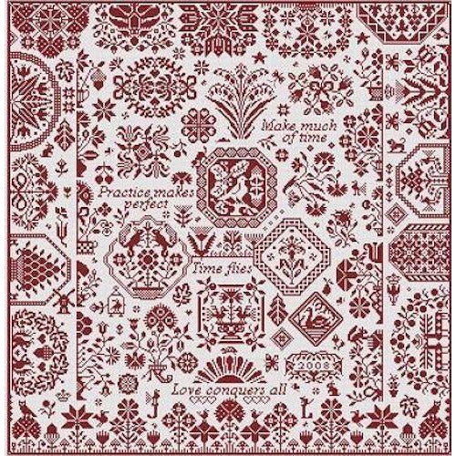 Scarlet Ribands Quaker Sampler Long Dog Samplers Cross Stitch Pattern