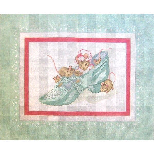 Old Woman in the Shoe Hearth Rug Beatrix Potter Hand-Painted Needlepoint Canvas