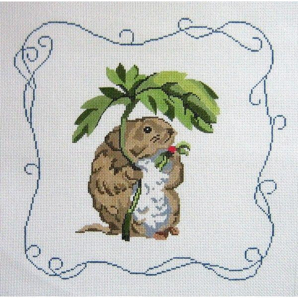 Timmy Willie Rug Square Beatrix Potter Hand-Painted Needlepoint Canvas