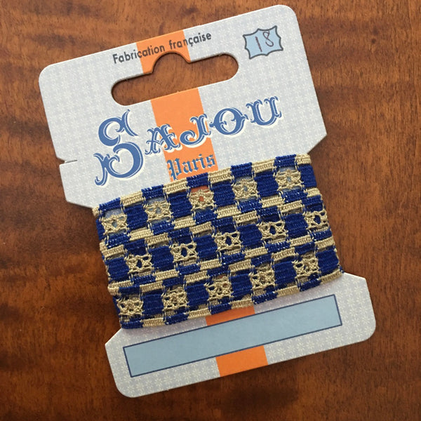 Sajou Blue & Beige Ribbon Trim No. 18