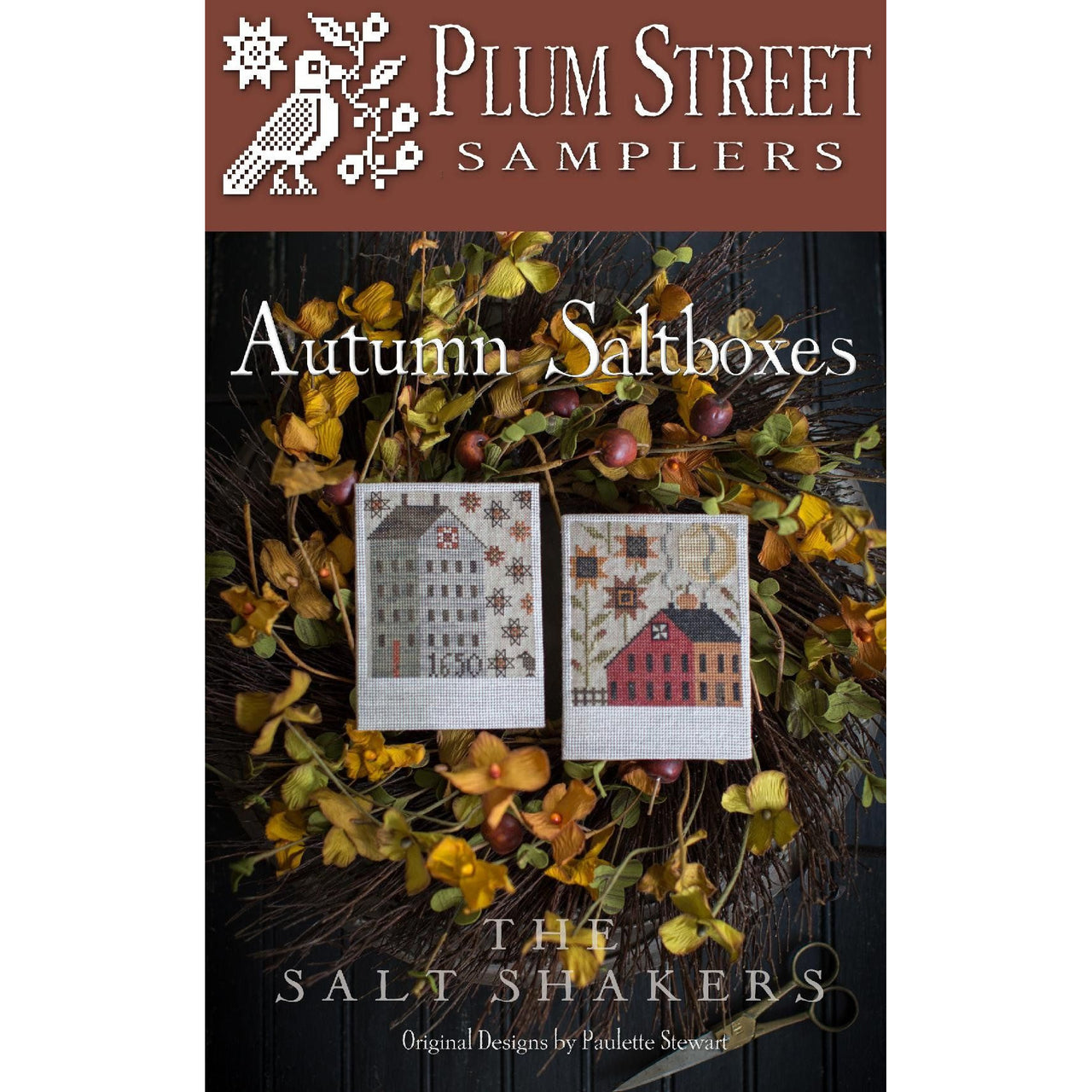 Autumn Saltboxes Cross Stitch Pattern