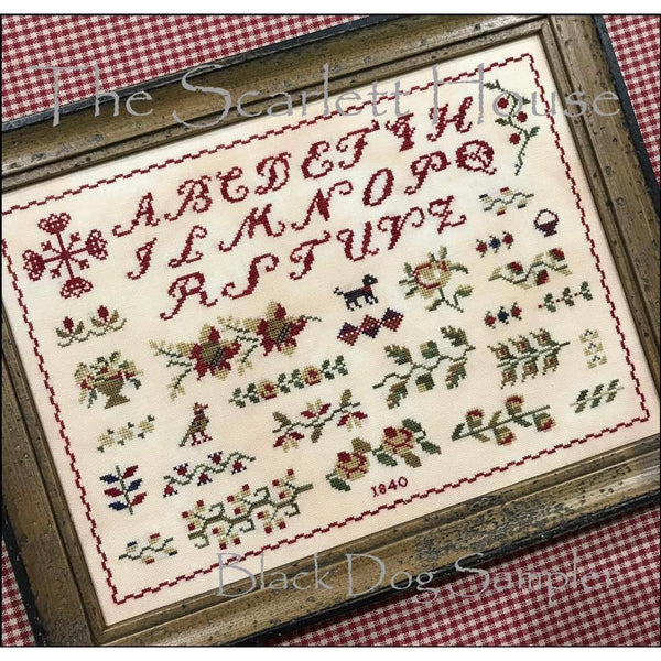 Black Dog Sampler Cross Stitch Pattern