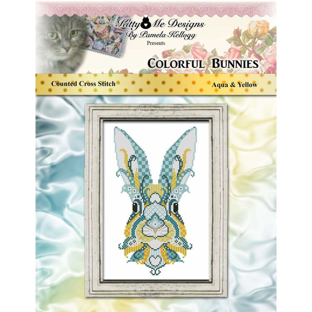 Colorful Bunnies - Aqua & Yellow Pattern