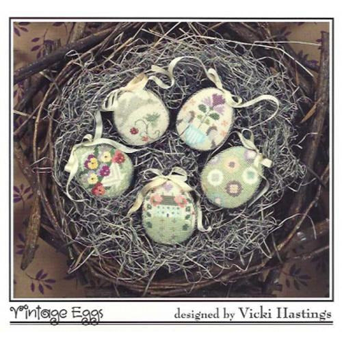 Vintage Eggs Cross Stitch Pattern