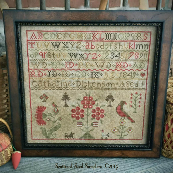 Catharine Dickenson 1840 Reproduction Sampler Cross Stitch Pattern