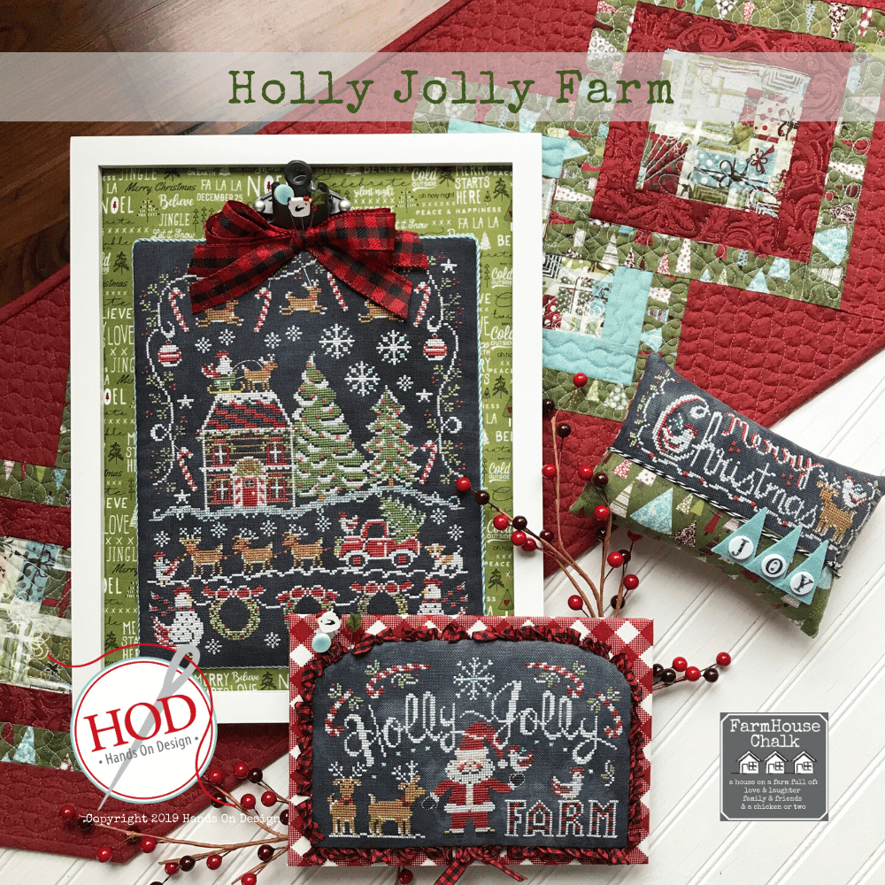 Farmhouse Chalk Series - Holly Jolly Farm Pattern