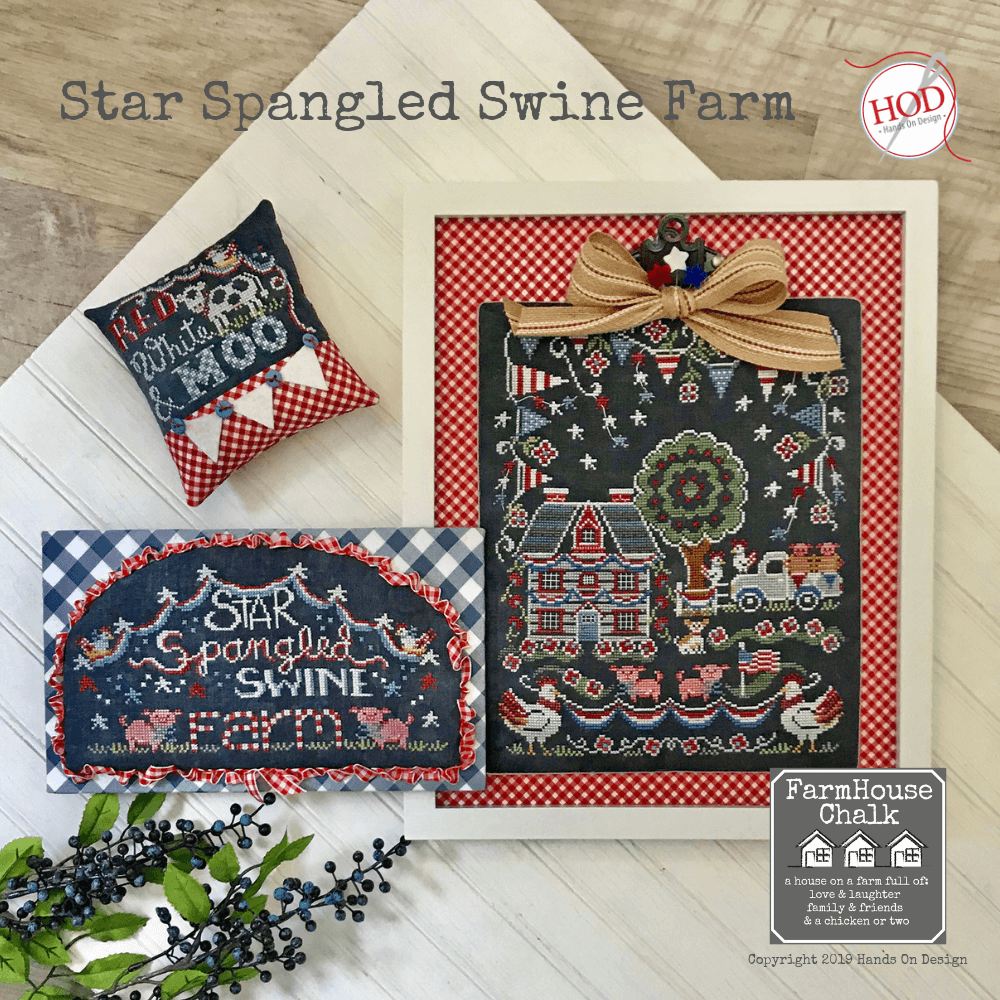 Farmhouse Chalk Series - Star Spangled Swine Farm Pattern